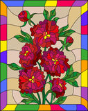 Stained glass illustration with flowers, buds and leaves of red peonies on a brown background in a bright frame. Illustration in stained glass style with flowers royalty free illustration