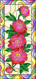 Stained glass illustration with flowers, buds and leaves of  red peonies. Illustration in stained glass style with flowers, buds and leaves of  red peonies on a Royalty Free Stock Photo