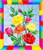 Stained glass illustration with flowers, buds and leaves of roses on a blue background in a bright frame. Illustration in stained glass style with flowers, buds royalty free illustration