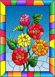 Stained glass illustration with flowers, buds and leaves of zinnias on a blue background in bright frame. Illustration in stained glass style with flowers, buds stock illustration