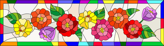 Stained glass illustration with flowers,buds and leaves of zinnias in a bright frame,horizontal orientation. Illustration in stained glass style with flowers royalty free illustration