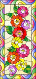 Stained glass illustration with flowers,buds and leaves of zinnias in a bright frame,vertical orientation. Illustration in stained glass style with flowers,buds stock illustration