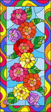 Stained glass illustration with flowers,buds and leaves of zinnias in a bright frame,vertical orientation. Illustration in stained glass style with flowers,buds vector illustration