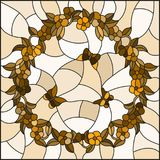 Stained glass illustration with  flowers in a circle and butterflies,brown tone,Sepia Royalty Free Stock Photo