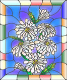 Stained glass illustration with flowers, leaves and buds of daisies. Illustration in stained glass style with flowers, buds and leaves of chamomile Stock Photo