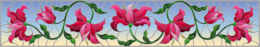 Stained glass illustration with flowers, leaves and buds of pink lilies on a blue background. Llustration in stained glass style with flowers, leaves and buds of stock illustration