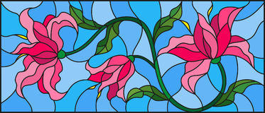 Stained glass illustration  with flowers, leaves and buds of pink lilies on a blue background. Llustration in stained glass style with flowers, leaves and buds Stock Images