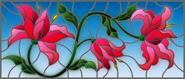 Stained glass illustration  with flowers, leaves and buds of pink lilies. Llustration in stained glass style with flowers, leaves and buds of pink lilies on a Stock Images