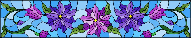 Stained glass illustration  with flowers, leaves and buds of purple flowers on a blue background, symmetrical image, horizontal or. Illustration in stained glass Royalty Free Stock Photos