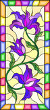 Stained glass illustration  with flowers, leaves and buds of purple lilies on a yellow background with bright frame. Illustration in stained glass style with Stock Photo