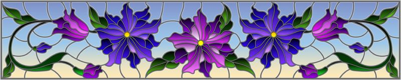 Stained glass illustration with flowers, leaves and buds of purple flowers on a sky background, symmetrical image, horizontal orie. Illustration in stained glass Stock Photo