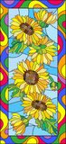 Stained glass illustration  with flowers, leaves and buds of the sunflower,on a blue background in a bright frame Stock Photos