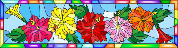 Stained glass illustration with flowers and leaves  of hibiscus on a blue background in bright frame Royalty Free Stock Photography
