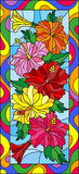 Stained glass illustration with flowers and leaves of hibiscus in a bright frame,vertical orientation. Illustration in stained glass style with flowers and stock illustration