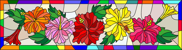 Stained glass illustration  with flowers and leaves  of hibiscus on a light background in bright frame Royalty Free Stock Photo