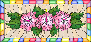 Stained glass illustration  with flowers and leaves  of hibiscus on a yellow background with bright frame Stock Photography
