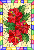 Stained glass illustration with flowers and leaves of hibiscus on a yellow background with bright frame. Illustration in stained glass style with flowers and stock illustration
