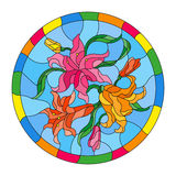 Stained glass illustration with flowers and leaves of lilies on a blue background in a bright round frame. Illustration in stained glass style with flowers and royalty free illustration