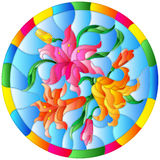 Stained glass illustration with flowers and leaves  of lilies on a blue background in a bright round frame Royalty Free Stock Photo