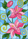 Stained glass illustration with flowers and leaves  of lilies on a blue background Royalty Free Stock Photography