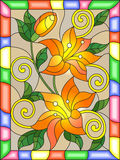 Stained glass illustration  with flowers and leaves  of lilies in a bright  frame Stock Photo
