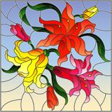 Stained glass illustration  with flowers and leaves  of lilies on a sky background. Illustration in stained glass style with flowers and leaves  of lilies on a Royalty Free Stock Photography
