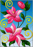 Stained glass illustration with flowers and leaves  of lilies Royalty Free Stock Images