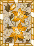 Stained glass illustration  with flowers and leaves  of lilies , tone brown, sepia Royalty Free Stock Photography