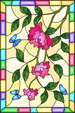 Stained glass illustration with flowers , leaves of pink rose and blue butterflies on the yellow background in a frame. Illustration in stained glass style with royalty free illustration
