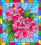 Stained glass illustration with flowers and leaves of  rose on blue background in a bright a frame. Illustration in stained glass style with flowers and leaves Stock Photos