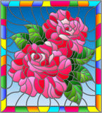 Stained glass illustration  with flowers and leaves of  rose on blue background in a bright a frame. Illustration in stained glass style with flowers and leaves Stock Images