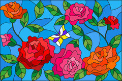 Stained glass illustration  with flowers  and leaves of  rose on the blue background. Illustration in stained glass style with flowers  and leaves of  rose on Royalty Free Stock Photography