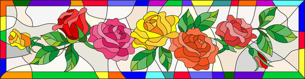 Stained glass illustration with flowers and leaves of rose in a bright frame. Illustration in stained glass style with flowers and leaves of rose in a bright stock illustration
