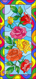 Stained glass illustration with flowers and leaves of rose in a bright frame,vertical orientation. Illustration in stained glass style with flowers and leaves of royalty free illustration