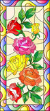 Stained glass illustration with flowers and leaves of rose in a bright frame,vertical orientation. Illustration in stained glass style with flowers and leaves of vector illustration