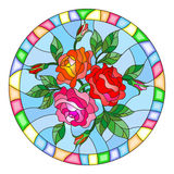 Stained glass illustration  with flowers and leaves of  rose in a bright round frame Stock Image