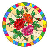 Stained glass illustration with flowers and leaves of  rose in a bright round frame Stock Photography