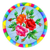 Stained glass illustration with flowers and leaves of rose in a bright round frame. Illustration in stained glass style with flowers and leaves of rose in a stock illustration