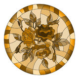 Stained glass illustration with flowers and leaves of rose in a bright round frame,tone brown,Sepia. Illustration in stained glass style with flowers and leaves royalty free illustration