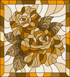 Stained glass illustration with flowers and leaves  of roses, tone brown, sepia Royalty Free Stock Images