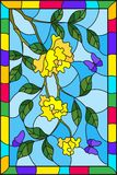 Stained glass illustration  with flowers  , leaves of  yellow rose and purple butterflies on the sky background in a frame. Illustration in stained glass style Stock Image