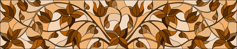 Stained glass illustration  with  flowers,monochrome Sepia, horizontal orientation Royalty Free Stock Photos