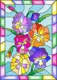 Stained glass illustration of flowers pansies in a bright frame. Illustration in stained glass style with flowers, buds and leaves of pansy Stock Image