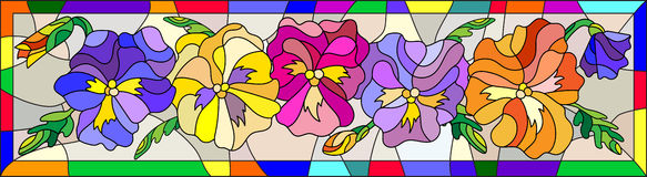 Stained glass illustration with flowers pansies in a bright frame vertical. Illustration in stained glass style with flowers, buds and leaves of pansy Royalty Free Stock Images