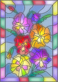 Stained glass illustration with flowers pansies. Illustration in stained glass style with flowers, buds and leaves of pansy Royalty Free Stock Photos