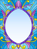 Stained glass illustration frame with abstract patterns and swirls on a blue background Stock Image