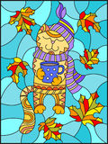 Stained glass illustration  with a funny cat in the hat , the scarf and a mug of tea on the background of bright autumn leaves Stock Images