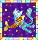 Stained glass illustration  with funny  cat hugging a fish on a blue background with stars,in a bright frame Stock Photos