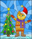 Stained glass illustration  with funny cat in Santa hat and Christmas tree on a background of snow and sky. Illustration in stained glass style with funny cat in Royalty Free Stock Image