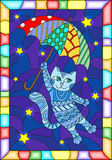 Stained glass illustration with funny flying cat on the umbrella against the starry night sky vector illustration